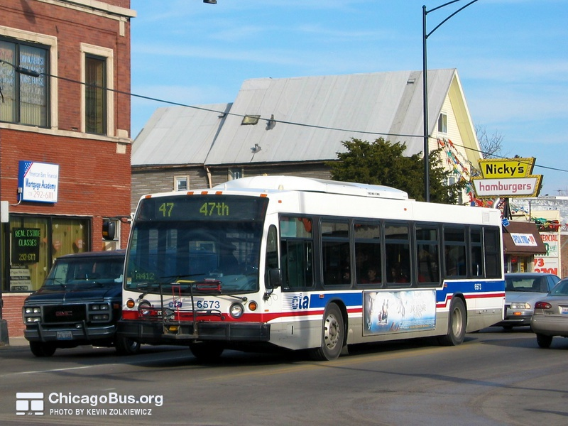 Bus #6573 at 47th and Kedzie, working route #47 47th, on February  5, 2005.