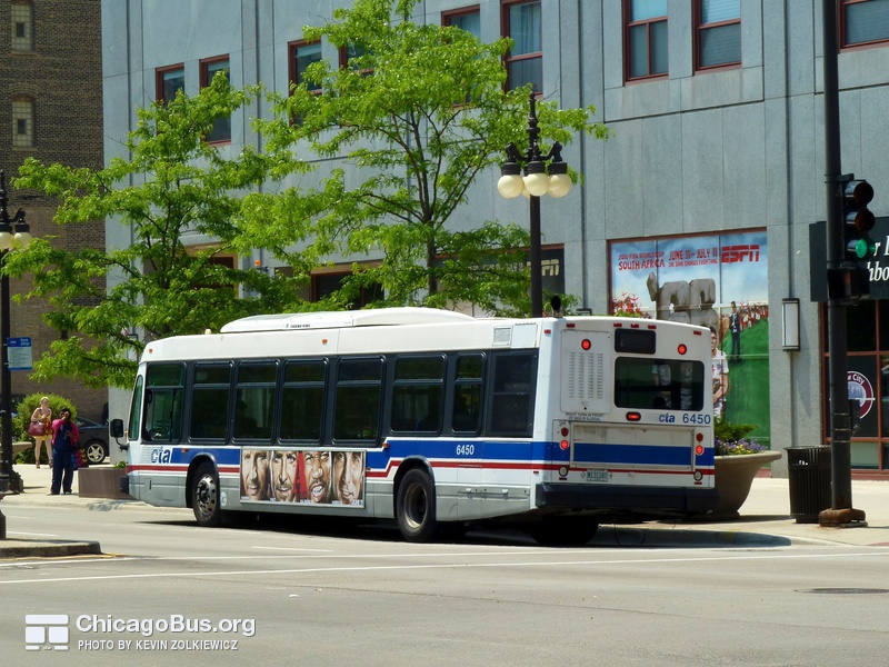 Bus #6450 at Michigan and 9th on May 25, 2010.