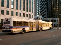 Bus #7706 at Wacker and State, working route #6 Jackson Park Express, on April 13, 2006.