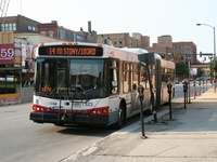 Bus #7523 at Desplaines and Randolph, working route #14 Jeffery Express, on August 17, 2007.