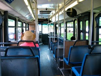The interior of bus #5852, working route #201 Central/Ridge, on July  9, 2004.