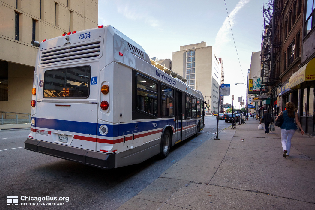Bus #7904 at Clark and Van Buren, working route #24 Wentworth, on July 18, 2014.