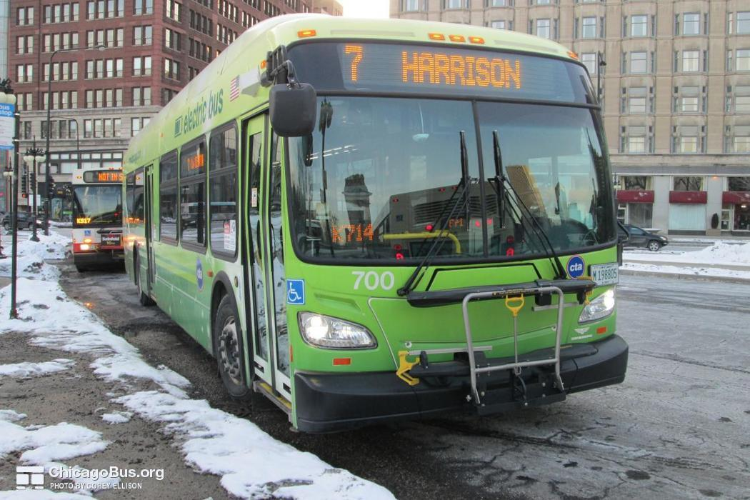 Bus #700 at Congress and Michigan, working route #7 Harrison, on February 16, 2015.