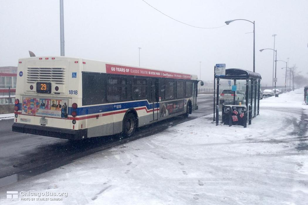 Bus #1818 at Lafayette and 79th, working route #29 State, on January  4, 2015.