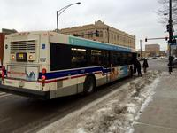 Bus #1757 at Racine and 79th, working route #44 Wallace/Racine, on February  9, 2015.