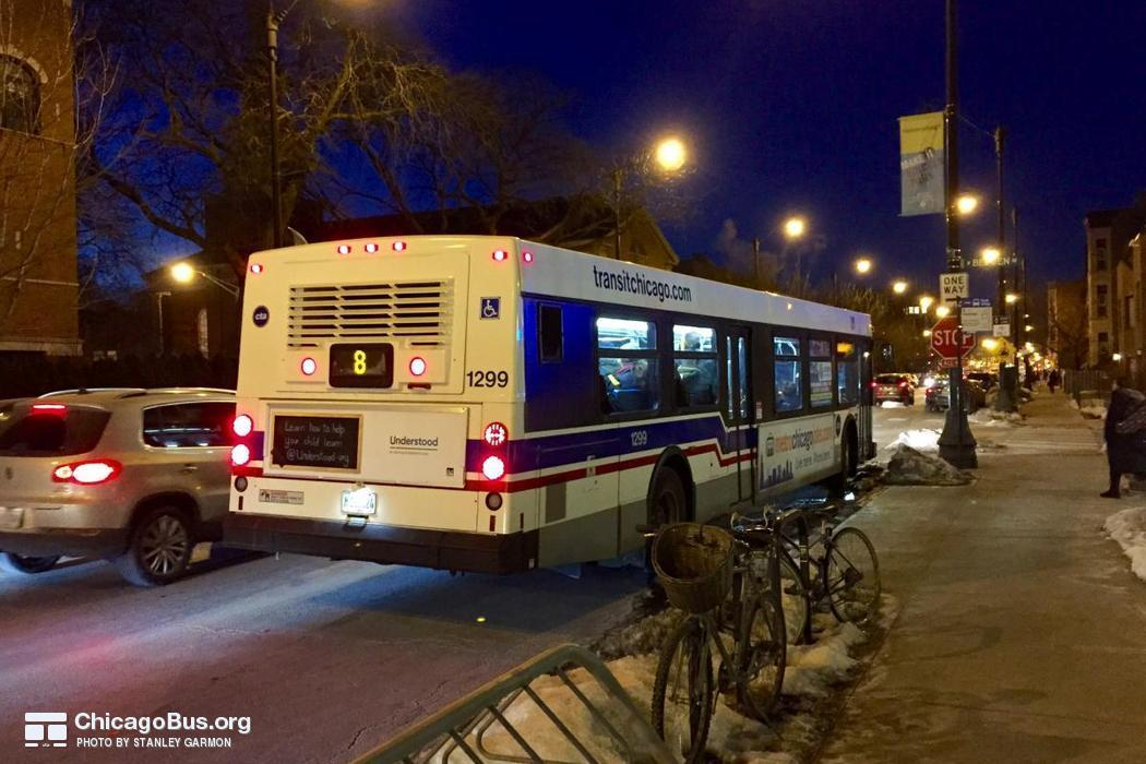 Bus #1299 at Halsted and Belden, working route #8 Halsted, on February 23, 2015.