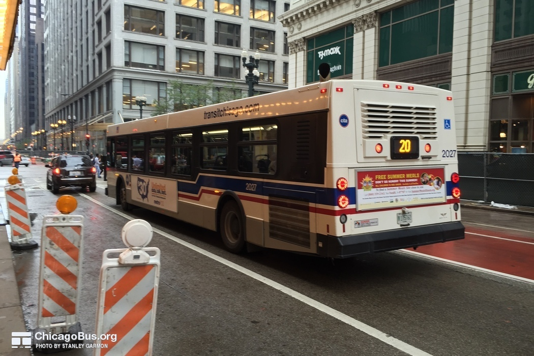 Bus #2027 at Madison and State, working route #20 Madison, on June 26, 2015.
