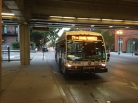 Bus #8128 at Fullerton and Sheffield (Red/Purple/Brown Line Station), working route #74 Fullerton, on August 17, 2015.