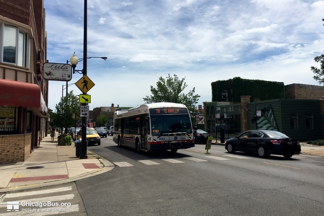 Bus #8262 at Montrose and Campbell , working route #78 Montrose, on July 17, 2016.