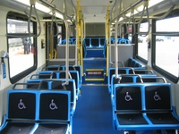 The interior of prototype bus #1000 at Navy Pier during a CTA press conference on November 2, 2005.