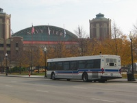 Prototype bus #1000 in front of Navy Pier following a CTA press conference on November 8, 2005.