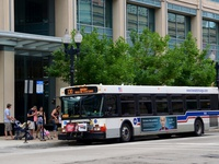 Bus #1168 at Clinton and Washington, working route #130 Museum Campus, on August  6, 2011.