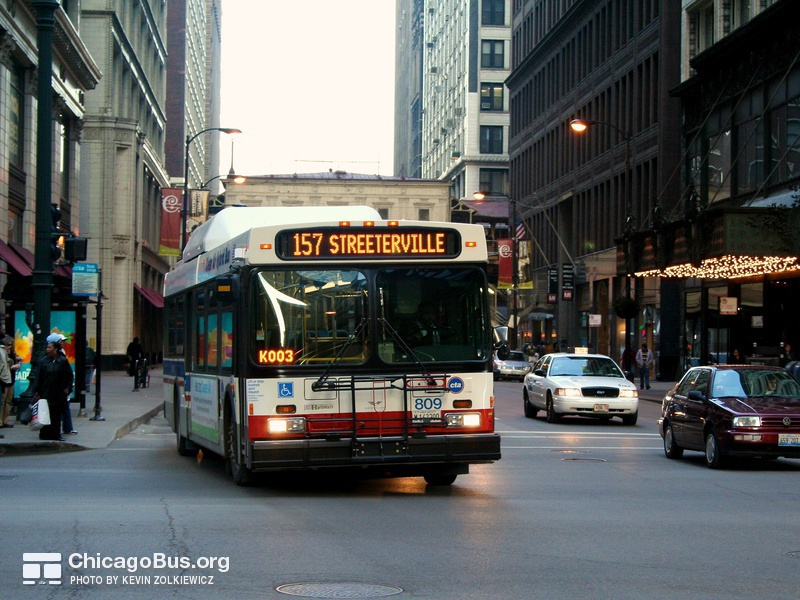 Bus #809 at Madison and State, working route #157 Streeterville, on March 22, 2007.
