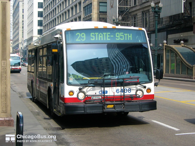 Bus #6408 at State and Adams, working route #29 State, on February 22, 2004.